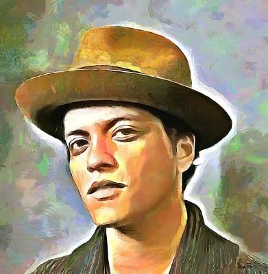 Bruno Mars Art Print by Wayne Pascall