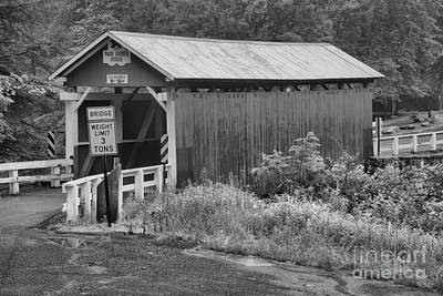 Photograph - Brush Creek Covered Bridge Black And White by Adam Jewell