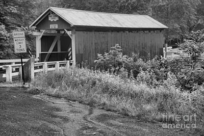 Photograph - Brush Creek Packsaddle Covered Bridge Black And White by Adam Jewell