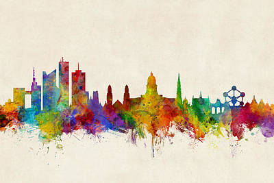 Brussels Digital Art - Brussels Belgium Skyline by Michael Tompsett
