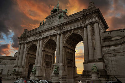 Photograph - Brussels Cinquantenaire At Sunset by Dennis Ludlow