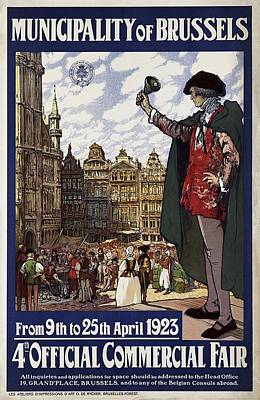 Mixed Media - Brussels Commercial Fair Poster - Retro Poster - Vintage Travel Advertising Poster by Studio Grafiikka