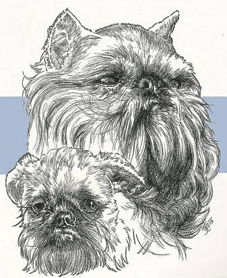 Brussels Griffon And Pup Art Print