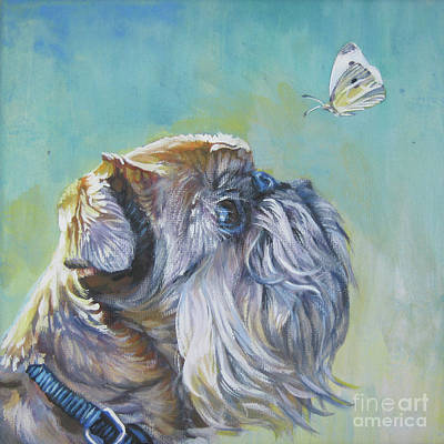 Griffon Wall Art - Painting - Brussels Griffon With Butterfly by Lee Ann Shepard