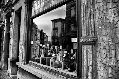 Brussels Reflections - Cameras And Books Art Print