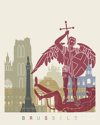 Brussels Painting - Brussels Skyline Poster by Pablo Romero