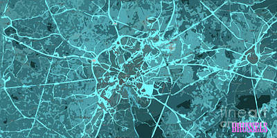 Lithograph Digital Art - Brussels Traffic Abstract Blue Map And Cyan by Pablo Franchi