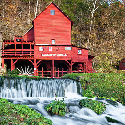 Photograph - Bryant Creek Waterfall And Hodgson Mill - Square Format by Gregory Ballos