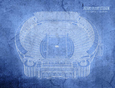 Bryant Mixed Media - Bryant Denny Stadium Alabama Crimson Tide Football Tuscaloosa Field Blueprints by Design Turnpike