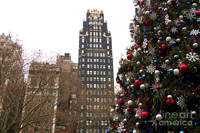 Photograph - Bryant Park Hotel Christmas Tree New York City by John Rizzuto