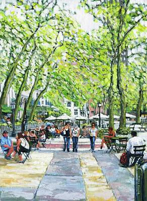 Painting - Bryant Park Nyc by Thomas Michael Meddaugh