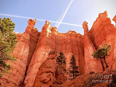 Bryce Photograph - Bryce Canyon Hoodoos With Contrails by Rincon Road Photography By Ben Petersen