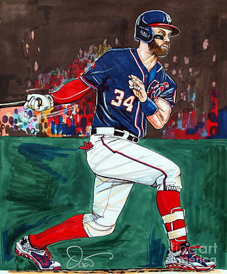 Baseball Drawing - Bryce Harper by Dave Olsen