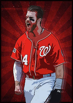 Baseball Digital Art - Bryce Harper by Semih Yurdabak
