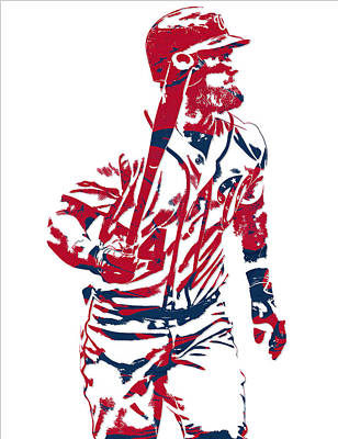 Bryce Harper Mixed Media - Bryce Harper Washington Nationals Pixel Art 10 by Joe Hamilton