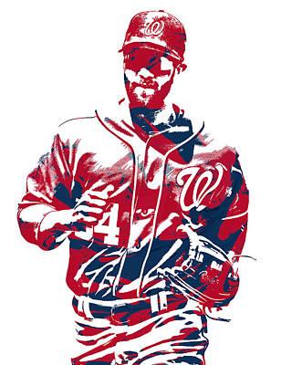 Washington Nationals Mixed Media - Bryce Harper Washington Nationals Pixel Art 12 by Joe Hamilton