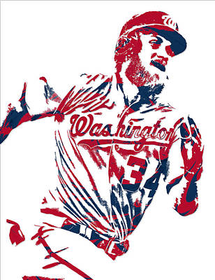 Bryce Harper Mixed Media - Bryce Harper Washington Nationals Pixel Art 13 by Joe Hamilton