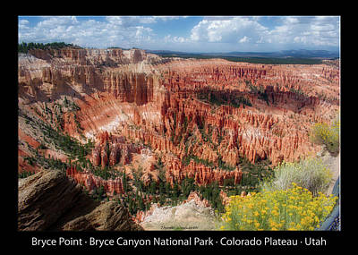 Photograph - Bryce Point Bryce Canyon Utah 04 Text Black by Thomas Woolworth