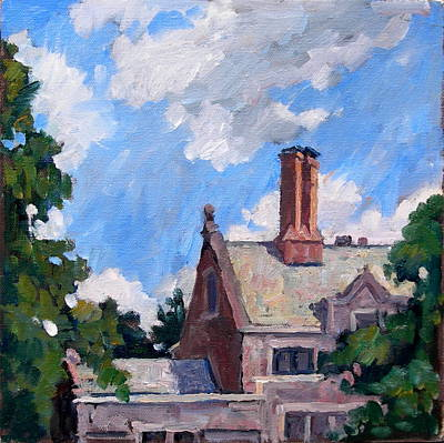 Brushy Painting - Bryn Mawr Rooftops by Thor Wickstrom