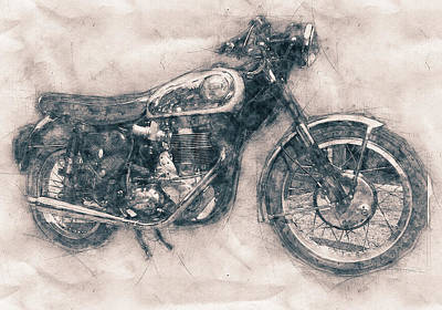 Royalty-Free and Rights-Managed Images - BSA Gold Star - 1938 - Motorcycle Poster - Automotive Art by Studio Grafiikka