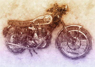 Royalty-Free and Rights-Managed Images - BSA Gold Star 2 - 1938 - Motorcycle Poster - Automotive Art by Studio Grafiikka