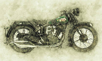 Mixed Media Royalty Free Images - BSA Sloper 1 - 1927 - Vintage Motorcycle Poster - Automotive Art Royalty-Free Image by Studio Grafiikka