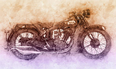 Mixed Media - Bsa Sloper - 1927 - Vintage Motorcycle Poster 2 - Automotive Art by Studio Grafiikka