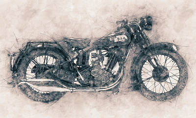 Mixed Media - Bsa Sloper - 1927 - Vintage Motorcycle Poster - Automotive Art by Studio Grafiikka