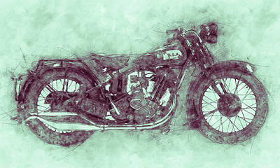 Royalty-Free and Rights-Managed Images - BSA Sloper 3 - 1927 - Vintage Motorcycle Poster - Automotive Art by Studio Grafiikka