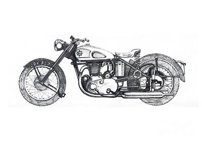 Two Wheeler Drawing - B.s.a. Star Twin by Stephen Brooks