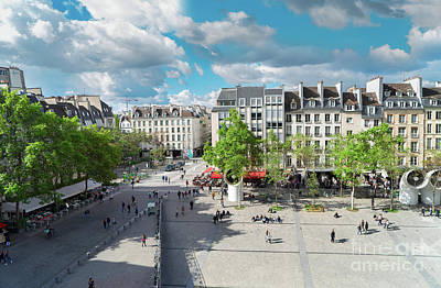 Paris Skyline Royalty-Free and Rights-Managed Images - Georges Pompidou Square by Anastasy Yarmolovich