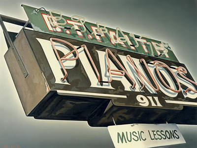 Sign Painting - B.t.faith Pianos by Van Cordle