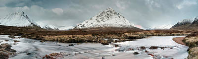 Photograph - Buachaille Winter Panorama 2 by Grant Glendinning