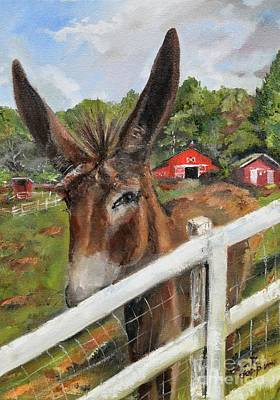 Painting - Bubba - Steals The Show -donkey by Jan Dappen