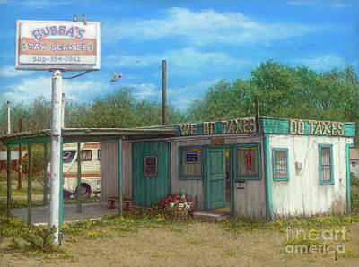 Painting - Bubba's Tax Service, Aztec, New Mexico by Janet Kruskamp
