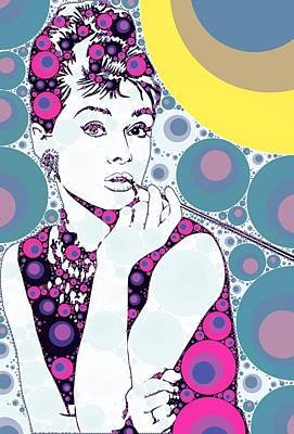 Actors Royalty-Free and Rights-Managed Images - Bubble Art Audrey Hepburn by John Springfield
