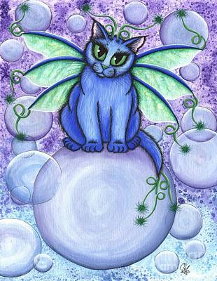 Art Print featuring the painting Bubble Fairy Cat by Carrie Hawks
