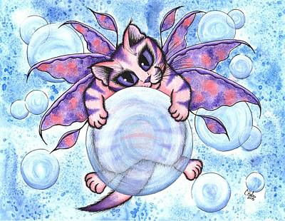 Art Print featuring the painting Bubble Fairy Kitten by Carrie Hawks