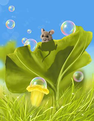 Rainbow Fantasy Art Painting - Bubble Games by Veronica Minozzi