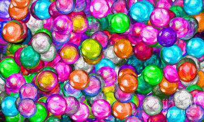 Digital Art - Bubble Gum Balls Painterly 2 by Andee Design