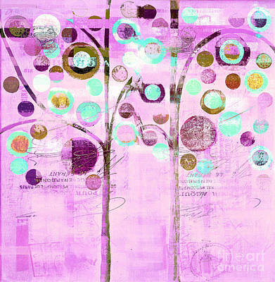 Bubble Tree Duo - 44mauv Art Print by Variance Collections