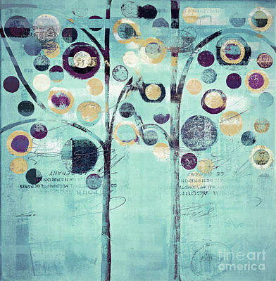 Bubble Tree Duo - 44turq01 Art Print by Variance Collections