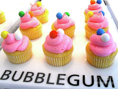 Art Print featuring the photograph Bubblegum Cupcakes by Beth Saffer