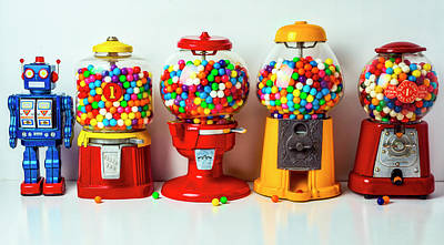 Photograph - Bubblegum Machines And Robot by Garry Gay