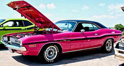 Hot Pink Custom Photograph - Bubblegum Pink Classic Dodge Challenger by Amy McDaniel