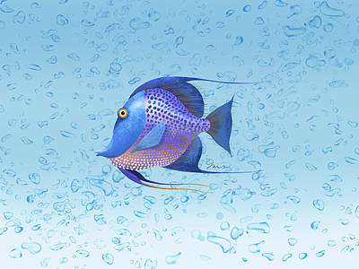 Tropical Fish Digital Art - Bubbles And Angel by Trevor Irvin