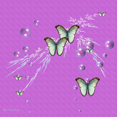 Digital Art - Bubbles And Butterflies by Rosalie Scanlon