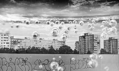 Bubbles And The City Art Print by John Williams