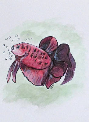 Painting - Bubbles, Betta Fish by Clyde J Kell