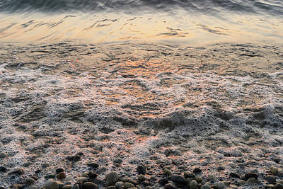 Photograph - Bubbles In Motion - Whimsical Patterns In The Surf At Sunrise by Georgia Mizuleva